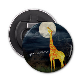 Giraffe and Moon   Custom Magnet Bottle Opener