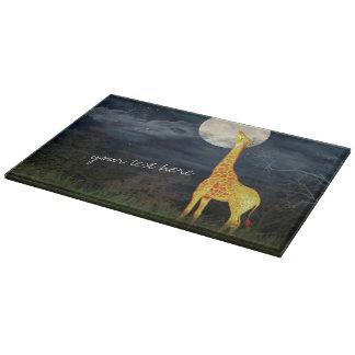Giraffe and Moon   Decorative Glass Cutting Board