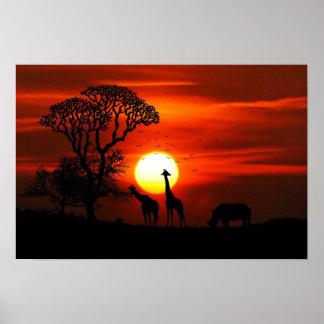 Giraffe and  Rhinoceros Sunset Poster