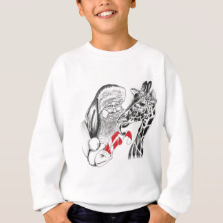 Giraffe and Santa Claus Christmas Sweatshirt