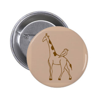 Giraffe and Sparrow 6 Cm Round Badge