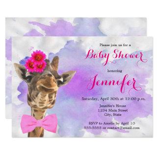 Giraffe animal jungle watercolor girl baby shower card