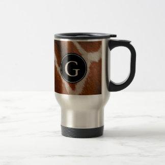 Giraffe Animal Print Pattern | Monogram Travel Mug
