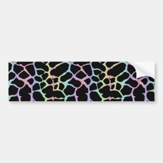 Giraffe Animal Print Rainbow And Black Design Bumper Sticker