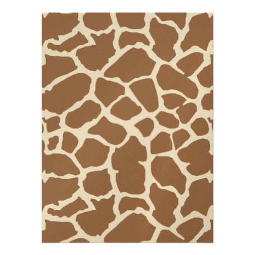 Giraffe Animal Print Tan Brown Design Custom Announcements