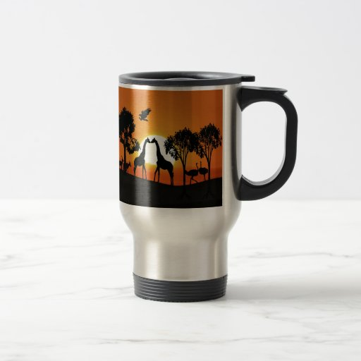 Giraffe at sunset mugs