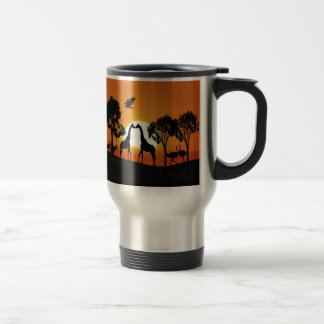 Giraffe at sunset travel mug