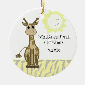 Giraffe Baby First Christmas Ceramic Ornament