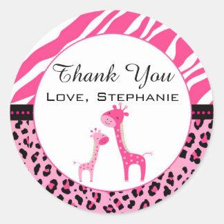Giraffe Baby Girl Shower Favor Label Hot Pink