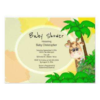 Giraffe Baby Shower 14 Cm X 19 Cm Invitation Card