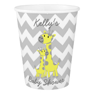 Giraffe Baby Shower Chevron Party Paper Cup