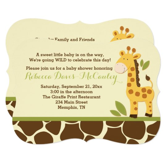 Giraffe Baby Shower Invitation Gender Neutral