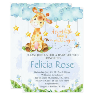 Giraffe Baby Shower Invitation Invite Blue Boy