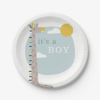 Giraffe Baby Shower Plates - Boy