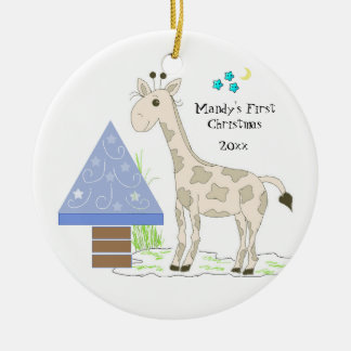 Giraffe Baby's First Christmas Ceramic Ornament