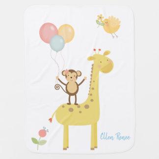 Giraffe Balloon Monkey Birdie Nursery Baby Blanket