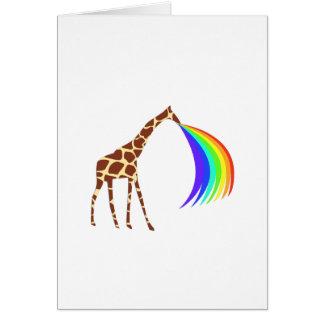 Giraffe barfing a rainbow card