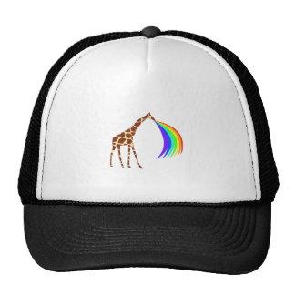 Giraffe barfing a rainbow trucker hats