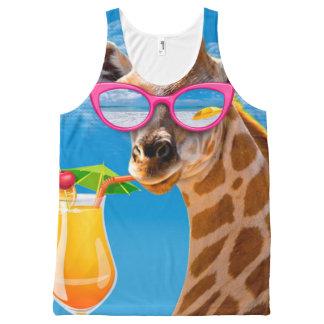 Giraffe beach - funny giraffe All-Over print singlet