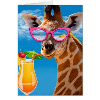 Giraffe beach - funny giraffe card