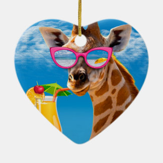 Giraffe beach - funny giraffe ceramic ornament