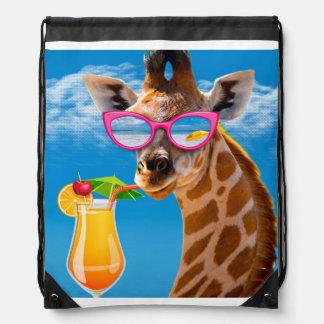 Giraffe beach - funny giraffe drawstring bag