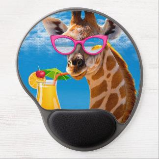 Giraffe beach - funny giraffe gel mouse pad