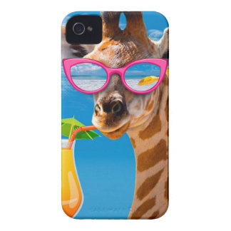 Giraffe beach - funny giraffe iPhone 4 Case-Mate case
