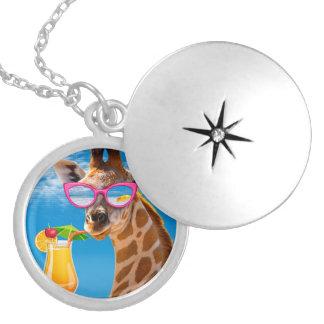 Giraffe beach - funny giraffe locket necklace