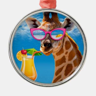 Giraffe beach - funny giraffe metal ornament