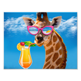 Giraffe beach - funny giraffe photo print