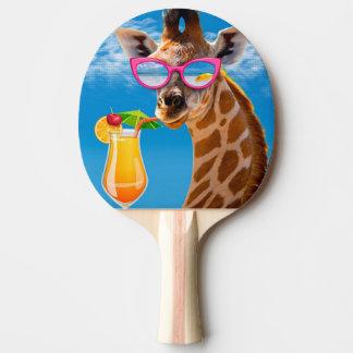 Giraffe beach - funny giraffe ping pong paddle