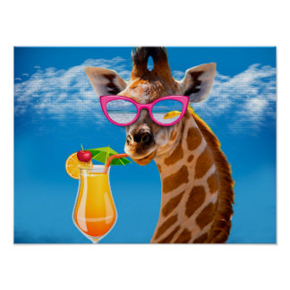 Giraffe beach - funny giraffe poster