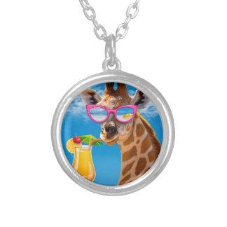 Giraffe beach - funny giraffe silver plated necklace