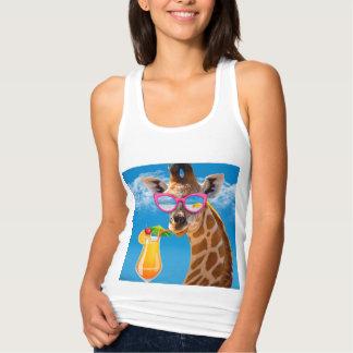 Giraffe beach - funny giraffe singlet