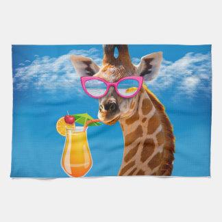 Giraffe beach - funny giraffe tea towel