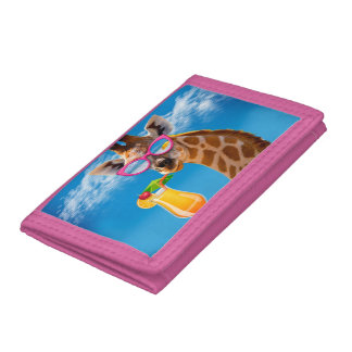 Giraffe beach - funny giraffe tri-fold wallet