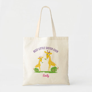 Giraffe Best Little Sister Ever Girls Personalized Tote Bag