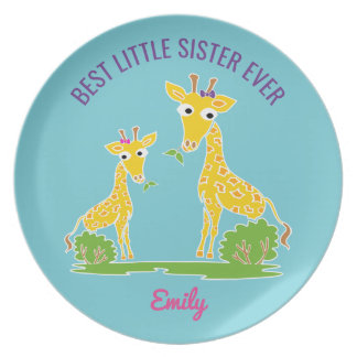 Giraffe Best Little Sister Ever Personalized Kids Plate