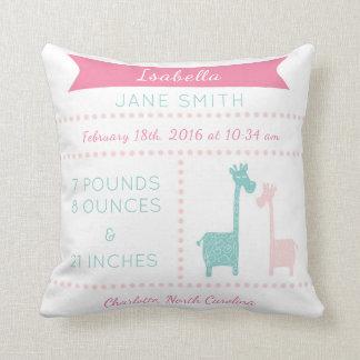 Giraffe Birth Stats Pink Mint Aqua Teal Pillow