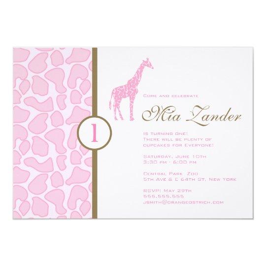 Giraffe Birthday Invitation - Girl
