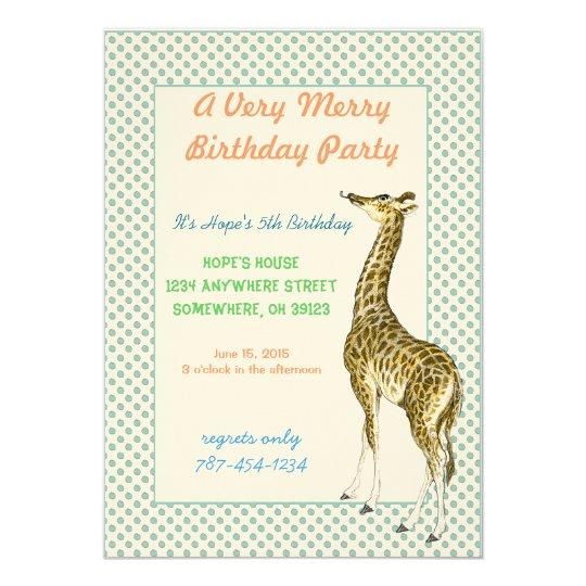 Giraffe Birthday Party Invitation