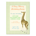 Giraffe Birthday Party Invitation Green Dot Border
