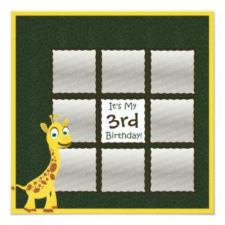 "Giraffe Birthday Photo 5.25"" Square Invitation Card"