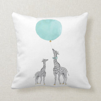 Giraffe & Blue Balloon Throw Cushion