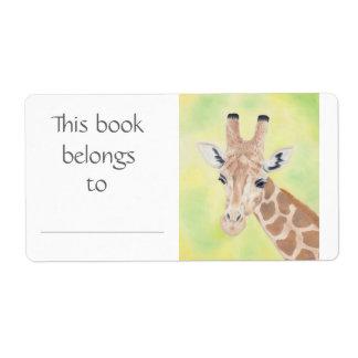 Giraffe book label shipping label