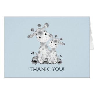 Giraffe Boys Baby Shower Thank You Note Card