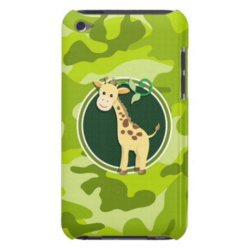 Giraffe; bright green camo, camouflage barely there iPod case