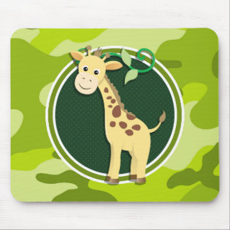 Giraffe; bright green camo, camouflage mousepad