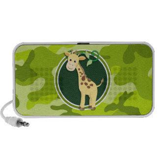 Giraffe bright green camo camouflage iPod speakers